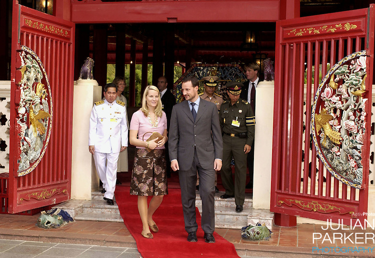 Crown Prince Haakon & Crown Princess Mette-Marit of Norway's visit to Thailand..Visit to Phra Nakhon Si Ayutthaya Province..