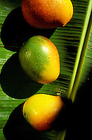 Hayden mangos on banana leaf