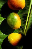 Hayden mangos on banana leaf