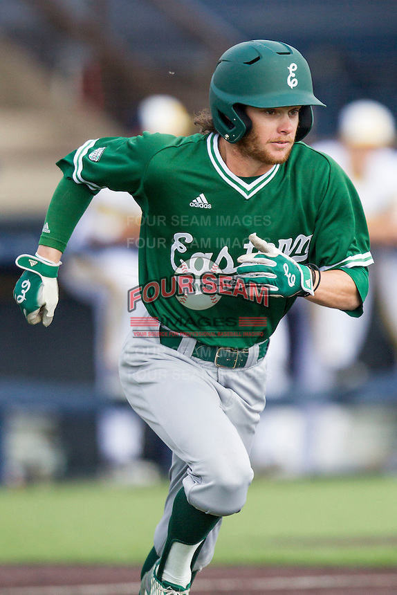 Eastern Michigan Hurons outfielder Austin Wilson (24) runs to first base against the Michigan Wolverines on May 3, 2016 at Ray Fisher Stadium in Ann Arbor, Michigan. Michigan defeated Eastern Michigan 12-4. (Andrew Woolley/Four Seam Images)