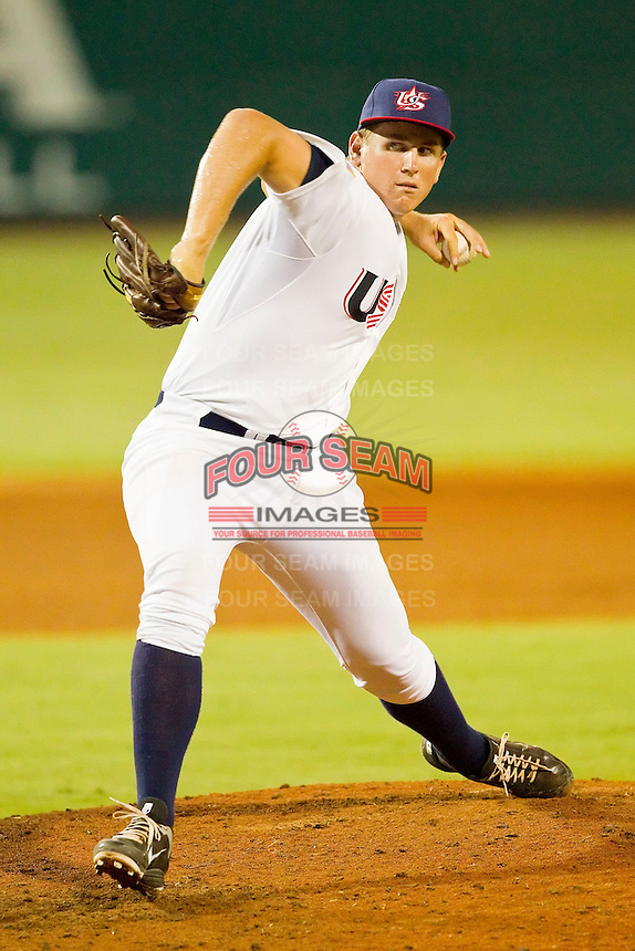 Troy Conyers #17 of the USA 18u National Team in action against the USA Baseball Collegiate National Team at the USA Baseball National Training Center on July 2, 2011 in Cary, North Carolina.  The College National Team defeated the 18u team 8-1.  Brian Westerholt / Four Seam Images