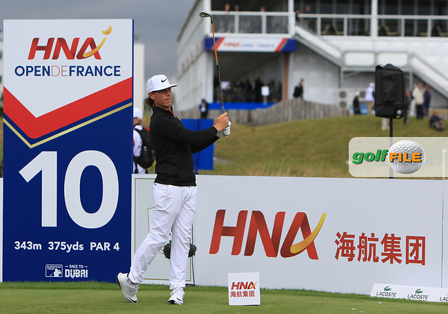 Kristoffer Broberg (SWE) on the 10th tee during Round 2 of the HNA Open De France  at The Golf National on Friday 30th June 2017.<br /> Photo: Golffile / Thos Caffrey.<br /> <br /> All photo usage must carry mandatory copyright credit      (&copy; Golffile | Thos Caffrey)