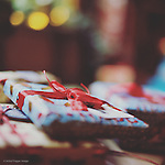 Christmas presents with ribbon