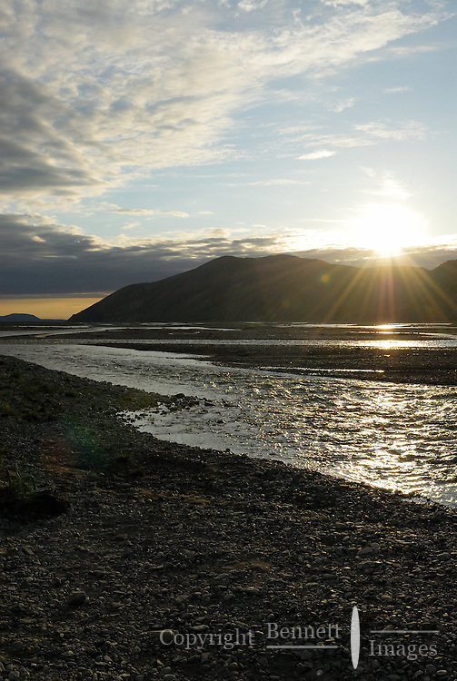 The midnight sun illuminates the Kongakut River, in Alaska's Arctic National Wildlife Refuge.