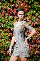 30/9/2010. Karen Millen Autumn Winter 2010 Christmas collection. Model Baiba is pictured wearing a black/gold brocade dress EUR250 and chain platform shoe EUR199 at a sneak preview of the Karen Millen Autumn Winter 2010 Christmas collection in Dublin. Picture James Horan/Collins Photos