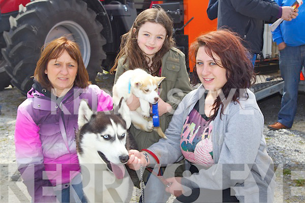 Pictured at the Kingdom County Fair on Sunday, from left: Debbie Sheehan, Shannon Sheehan and Nikki Sheehan with their huskies Kaiser and Saoirse..