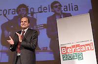 Roma, 2 Dicembre 2012.Teatro Capranica.PierLuigi Bersani festeggia la vittoria delle primarie.