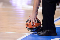 Referee take the ball after the time out during Turkish Airlines Euroleague match between Real Madrid and CSKA Moscow at Wizink Center in Madrid, Spain. January 06, 2017. (ALTERPHOTOS/BorjaB.Hojas)