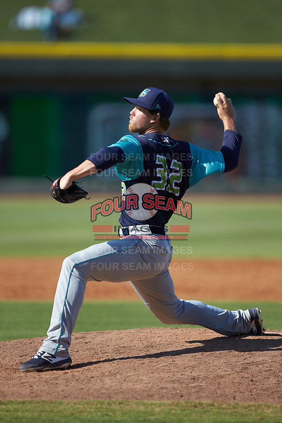 Lynchburg Hillcats relief pitcher Jonathan Teaney (32) in action against the Winston-Salem Rayados at BB&T Ballpark on June 23, 2019 in Winston-Salem, North Carolina. The Hillcats defeated the Rayados 12-9 in 11 innings. (Brian Westerholt/Four Seam Images)