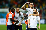 (L-R) Olivier Giroud, Mathieu Valbuena (FRA), JUNE 20, 2014 - Football /Soccer : France team group celebrate after winning the FIFA World Cup Brazil 2014 Group E match between Switzerland 2-5 France at Arena Fonte Nova, Salvador, Brazil. (Photo by D.Nakashima/AFLO)