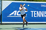 Borna Gojo of the Wake Forest Demon Deacons returns the ball during his match at #1 doubles against the North Carolina Tar Heels at the 2018 ACC Men's Tennis Championship at the Cary Tennis Center on April 29, 2018 in Cary, North Carolina.  The Demon Deacons defeated the Tar Heels 4-0.  (Brian Westerholt/Sports On Film)