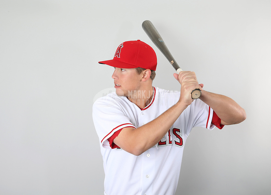 Feb. 21, 2013; Tempe, AZ, USA: Los Angeles Angels infielder Alex Yarbrough poses for a portrait during photo day at Tempe Diablo Stadium. Mandatory Credit: Mark J. Rebilas-