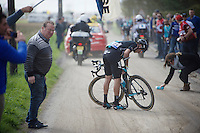 Gianni Mosconi (ITA/SKY) was involved in a crash, immediately after sector 11: Auchy-lez-Orchies to Bers&eacute;e (2.7km)  <br /> <br /> 114th Paris-Roubaix 2016