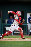 Harrisburg Senators catcher Jake Lowery (3) throws to second base during the second game of a doubleheader against the New Hampshire Fisher Cats on May 13, 2018 at FNB Field in Harrisburg, Pennsylvania.  Harrisburg defeated New Hampshire 2-1.  (Mike Janes/Four Seam Images)