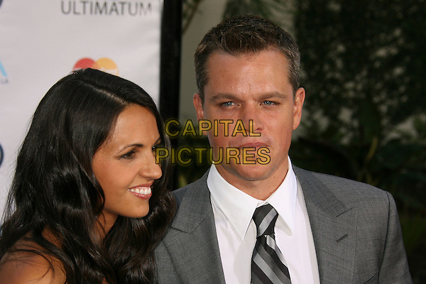 "LUCIANA BARROSO & MATT DAMON.""The Bourne Ultimatum"" Los Angeles Premiere held at the Arclight Theatre, Hollywood, California, USA..July 25th, 2007.headshot portrait married husband wife profile .CAP/ADM/RE.©Russ Elliot/AdMedia/Capital Pictures"