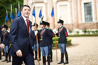 Roma, 27 Marzo, 2014. Matteo Renzi arriva a Villa Madama per incontrare Barack Obama. <br /> Italian Premier Matteo Renzi at Villa Madama in Rome.