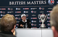 Post media interview for Matthew Fitzpatrick (ENG) winner of the Final Round of the British Masters 2015 supported by SkySports played on the Marquess Course at Woburn Golf Club, Little Brickhill, Milton Keynes, England.  11/10/2015. Picture: Golffile | David Lloyd<br /> <br /> All photos usage must carry mandatory copyright credit (&copy; Golffile | David Lloyd)