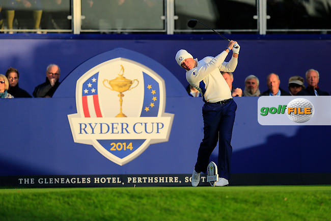 Lee Westwood (EUR) during the Saturday morning Fourballs of the 2014 Ryder Cup at Gleneagles. The 40th Ryder Cup is being played over the PGA Centenary Course at The Gleneagles Hotel, Perthshire from 26th to 28th September 2014.: Picture Eoin Clarke, www.golffile.ie / www.golftouri,ages.com: \27/09/2014\