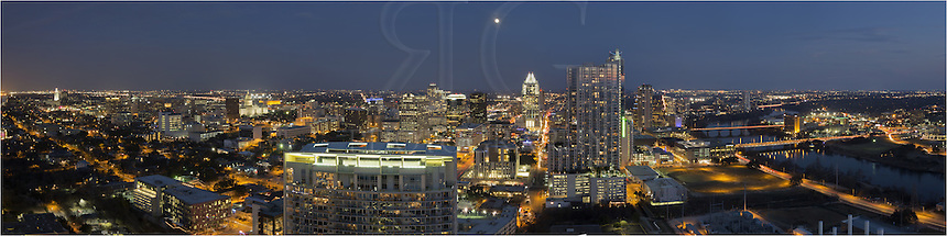 Looking east at night at the Austin Skyline.... This image of downtown Austin shows the diverse architecture of Austin with the vibrant city lights on a Saturday night. The University of Texas Tower, the Texas State Capitol, the 360 Condominiums Building, the Frost Tower ,and the Hyatt Austin are some of the more prominent and well known Austin buildings. Town Lake (also known as Lady Bird Lake) flows through the city and provides a nice place for a jog or evening stroll.