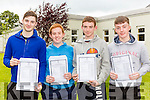 Owen Barry, Aaron McCann, Michael O'Donoghue and Evan Healy collecting their Leaving Cert results in Killarney Community College Killarney on Wednesday