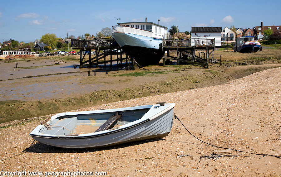 Houseboats on the shoreline at West Mersea, Mersea Island, Essex, England