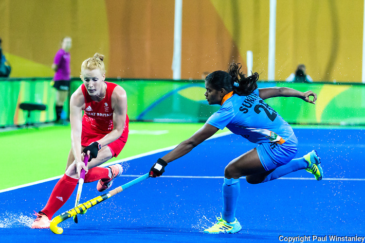 Sunita Lakra #26 of India tackles during India vs Great Britain in a Pool B game at the Rio 2016 Olympics at the Olympic Hockey Centre in Rio de Janeiro, Brazil.