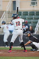 Ti'Quan Forbes (10) of the Hickory Crawdads at bat against the Kannapolis Intimidators at Kannapolis Intimidators Stadium on April 8, 2016 in Kannapolis, North Carolina.  The Crawdads defeated the Intimidators 8-2.  (Brian Westerholt/Four Seam Images)