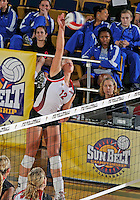 WKU outside hitter Jordyn Skinner (12) plays against Florida International in the semi-finals of the Sunbelt Conference Volleyball Tournament.  Western Kentucky won the match 3-0 on November 18, 2011 at Miami, Florida. .