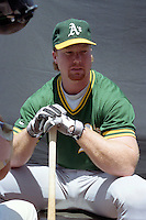 Oakland Athletics Mark McGwire gives an interview during the Major League Baseball All-Star Game break at Jack Murphy Stadium  in San Diego, California.  (MJA/Four Seam Images)