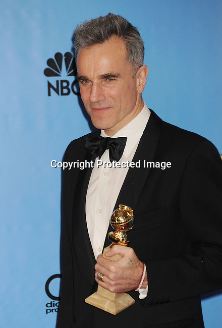 BEVERLY HILLS, CA - JANUARY 13: Actor Daniel Day-Lewis poses in the press room at the 70th Annual Golden Globe Awards held at The Beverly Hilton Hotel on January 13, 2013 in Beverly Hills, California.