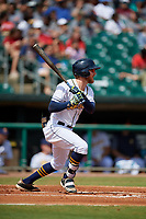 Montgomery Biscuits Dalton Kelly (9) hits an infield single during a Southern League game against the Mobile BayBears on May 2, 2019 at Riverwalk Stadium in Montgomery, Alabama.  Mobile defeated Montgomery 3-1.  (Mike Janes/Four Seam Images)