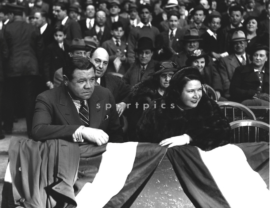 Babe Ruth  with wife Claire at a opening day