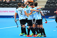 Argentine players celebrat Maico Casella's goal from the penalty shot to open the scoring during the Hockey World League Quarter-Final match between Argentina and Pakistan at the Olympic Park, London, England on 22 June 2017. Photo by Steve McCarthy.