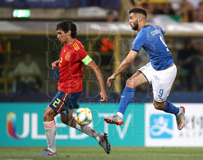 Football: Uefa under 21Championship 2019, Italy - Spain Renato Dall'Ara stadium Bologna Italy on June16, 2019.<br /> Italy's Patrick Cutrone (r) in action with Spain's captain Jesus Vallejo (l) during the Uefa under 21 Championship 2019 football match between Italy and Spain at Renato Dall'Ara stadium in Bologna, Italy on June16, 2019.<br /> UPDATE IMAGES PRESS/Isabella Bonotto
