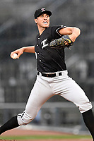 Alec Hanson (30) of the Kannapolis Intimidators with the North team pitches during the South Atlantic League All-Star Game on Tuesday, June 20, 2017, at Spirit Communications Park in Columbia, South Carolina. The game was suspended due to rain after seven innings tied, 3-3. (Tom Priddy/Four Seam Images)