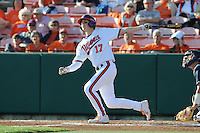 Second Baseman Steve Wilkerson #17 of the Clemson Tigers swings at a pitch during  a game against the North Carolina Tar Heels at Doug Kingsmore Stadium on March 9, 2012 in Clemson, South Carolina. The Tar Heels defeated the Tigers 4-3. Tony Farlow/Four Seam Images.