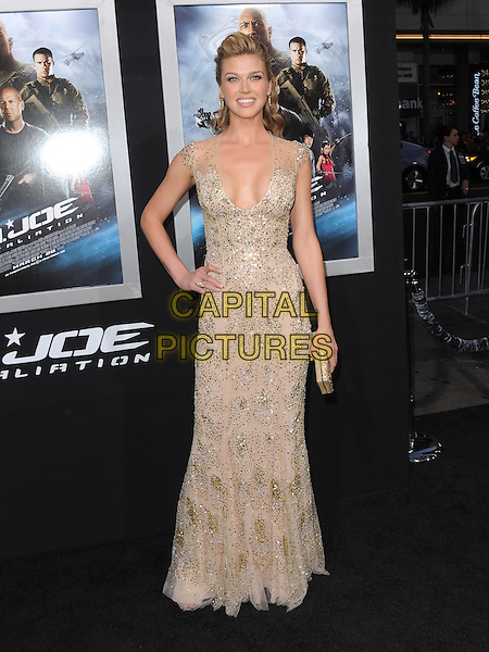 "Adrianne Palicki.""G.I. Joe: Retaliation"" Los Angeles Premiere held at TCL Chinese Theatre, Hollywood, California, USA..March 28th, 2013     .full length beige silver beads beaded dress low cut neckline cleavage clutch bag gold hand on hip sequins sequined .CAP/DVS.©DVS/Capital Pictures."