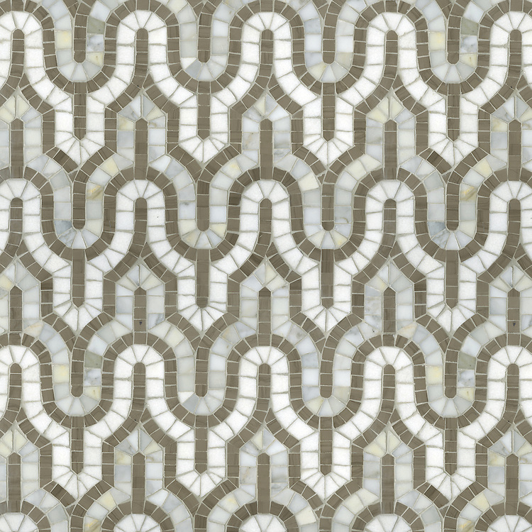 Kasbah, a hand-cut stone mosaic, shown  in Driftwood, Calacatta Tia, and Thassos.