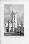 New Church, Somers Town, engraving 'Metropolitan Improvements, or London in the Nineteenth Century' London, England, UK 1828