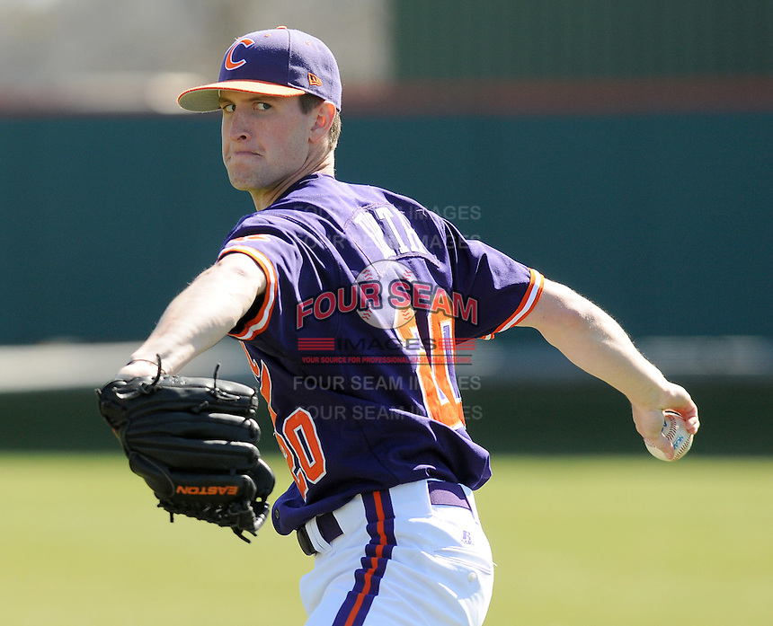RHP Scott Firth (20) of the Clemson Tigers prior to a game against the Wright State Raiders Saturday, Feb. 27, 2011, at Doug Kingsmore Stadium in Clemson, S.C. Photo by: Tom Priddy/Four Seam Images