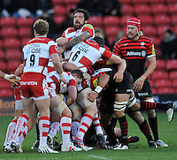 Watford, England. Jim Hamilton (capt) of Gloucester Rugby leads the scrum during the Aviva Premiership match between Saracens and at Gloucester Rugby at Vicarage Road on December 2, 2012 in Watford, England.