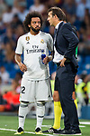 Manager Julen Lopetegui of Real Madrid speaks to Marcelo Vieira Da Silva during the La Liga 2018-19 match between Real Madrid and Getafe CF at Estadio Santiago Bernabeu on August 19 2018 in Madrid, Spain. Photo by Diego Souto / Power Sport Images
