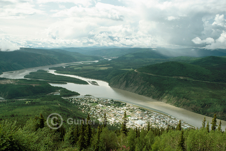Dawson City and Yukon River, YT, Yukon Territory, Canada - Aerial View