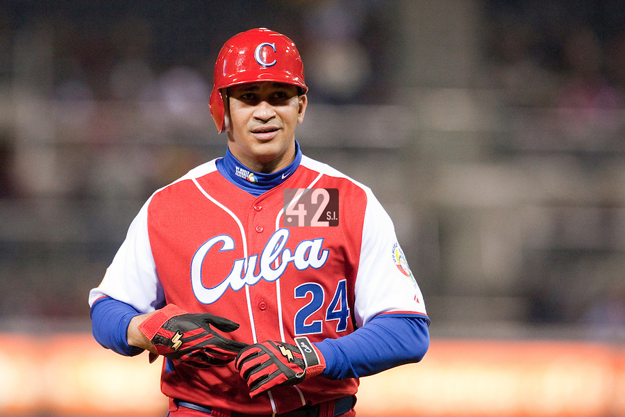16 March 2009: #24 Frederich Cepeda of Cuba is seen during the 2009 World Baseball Classic Pool 1 game 3 at Petco Park in San Diego, California, USA. Cuba wins 7-4 over Mexico.