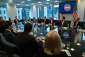 United States President-elect Donald Trump, US Vice President-elect Mike Pence, cabinet nominees and technology company chiefs are seen at a meeting  in the Trump Organization conference room at Trump Tower in New York, NY, USA on December 14, 2016. <br /> Credit: Albin Lohr-Jones / Pool via CNP