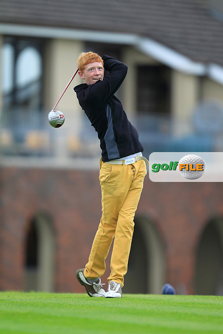 Conor Mulholland (Mount Juliet) on the 1st tee during the Irish Boys Under 15 Amateur Open Championship Round 2 at the West Waterford Golf Club on Tuesday 20th August 2013 <br /> Picture:  Thos Caffrey/ www.golffile.ie