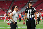 Arizona Cardinals coach Dr. Jen Welter talks with referee Sarah Thomas before a preseason game against the Kansas City Chiefs at University of Phoenix Stadium, Saturday August 15th, 2015, in Glendale, Ariz. (AP Photo/Gene Lower)