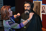 "Hairdresser Vikki Thompson styles the hair and beard of the John C. Fremont mannequin at the Nevada State Museum in Carson City, Nev., on Monday, Jan. 27, 2014. The ""Finding Fremont: Pathfinder of the West"" exhibit runs through October. (Las Vegas Review-Journal/Cathleen Allison)"