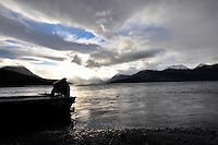 Winter descends on Skilak lake near the outlet of the Kenai River, Alaska.
