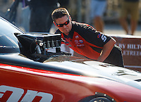 Sep 23, 2016; Madison, IL, USA; Crew member for NHRA funny car driver Cruz Pedregon during qualifying for the Midwest Nationals at Gateway Motorsports Park. Mandatory Credit: Mark J. Rebilas-USA TODAY Sports